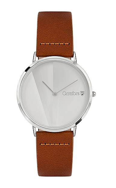 Orrefors Crystal O-Time Brandy White Dial Watch