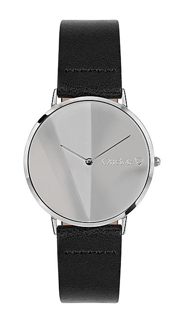 Orrefors Crystal O-Time Black Mirror Dial Watch