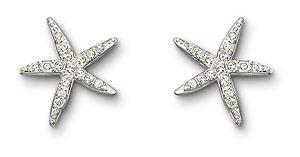 Swarovski Rhodium and Crystal Holly Starfish Pierced Earrings