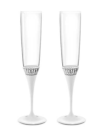 Monique Lhuillier Waterford Opulence Metal Toasting Flutes, Pair