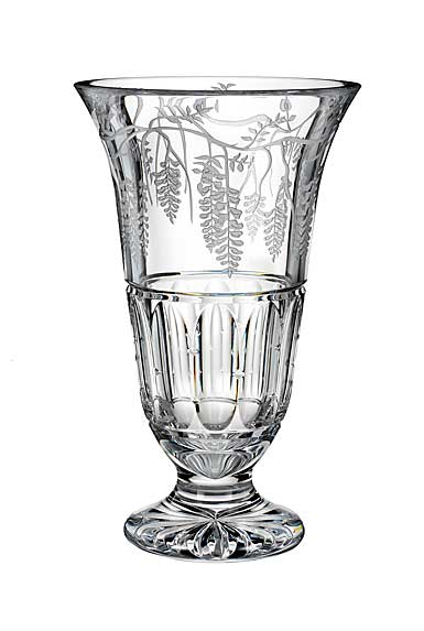 "Waterford Crystal, House of Waterford Wisteria Lane 14"" Footed Crystal Vase"