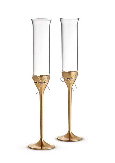 Vera Wang Wedgwood, Love Knots Gold Toasting Crystal Flutes, Pair