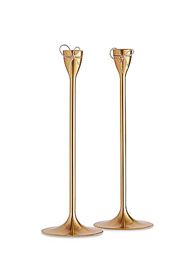 Vera Wang Wedgwood Love Knots Gold Taper Candle Holder, Pair
