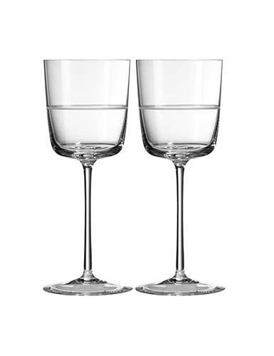 Vera Wang Wedgwood, Vera Bande Crystal Wine, Pair