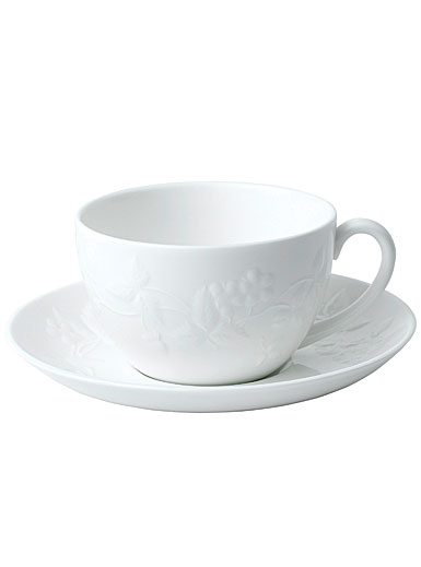 Wedgwood China Wild Strawberry White Teacup and Saucer Set