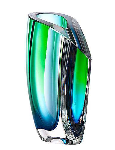 Kosta Boda Mirage Large Crystal Vase, Blue and Green