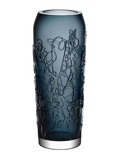 "Kosta Boda Twine 11 3/4"" Grey Crystal Vase"