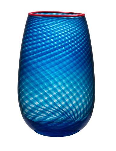 "Kosta Boda Red Rim 12 3/4"" Crystal Vase"