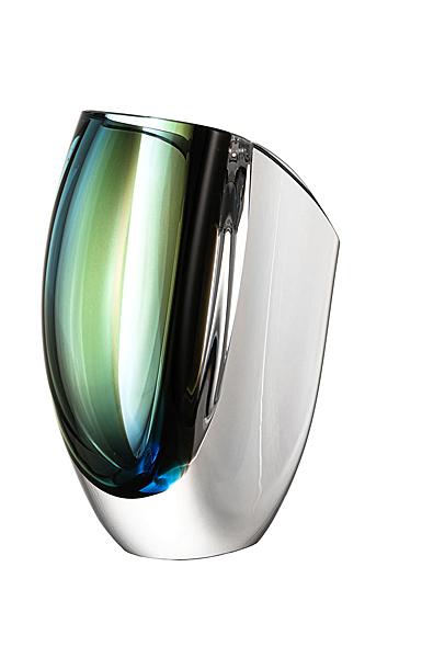 """Kosta Boda Mirage 8"""" Vase Forest Green, Blue"""