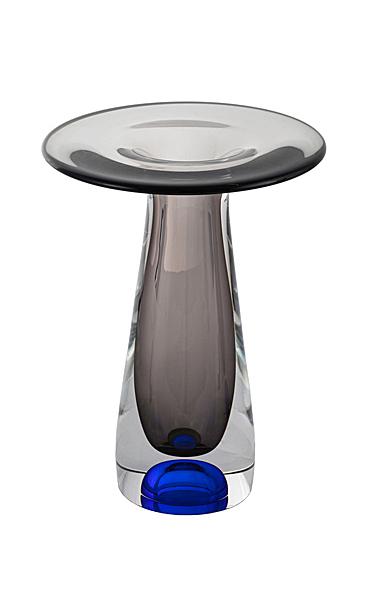 """Kosta Boda Fado 9"""" Vase Blue, Grey Low"""