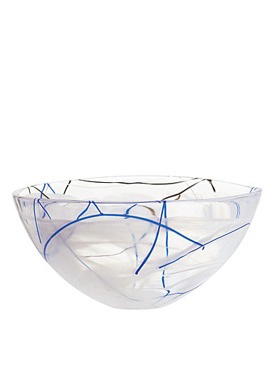 Kosta Boda Contrast Large Crystal Bowl, White