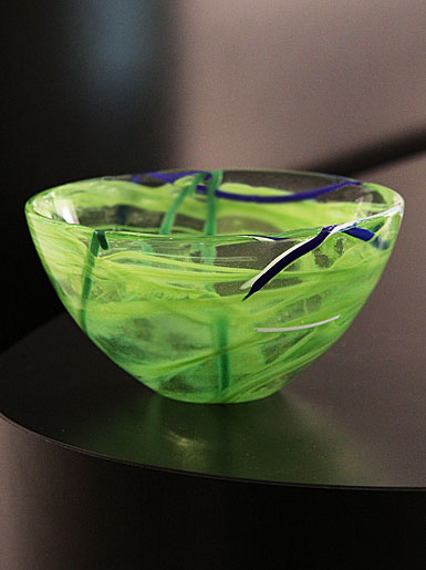 Kosta Boda Contrast Large Crystal Bowl, Lime