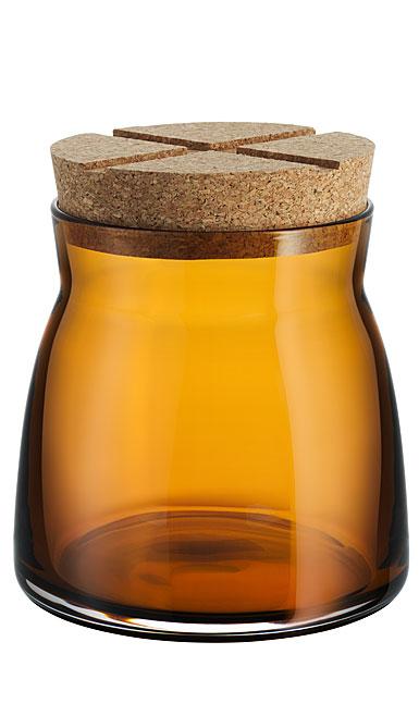 Kosta Boda Bruk Jar with Cork Amber, Medium