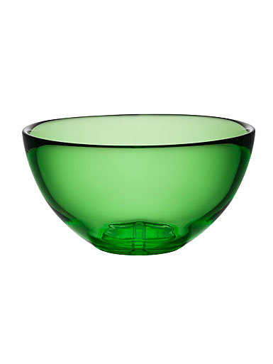 Kosta Boda Bruk Crystal Large Serving Bowl, Apple Green