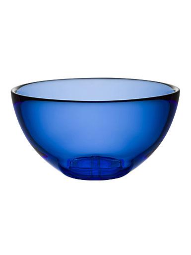 Kosta Boda Bruk Crystal Large Serving Bowl, Water Blue