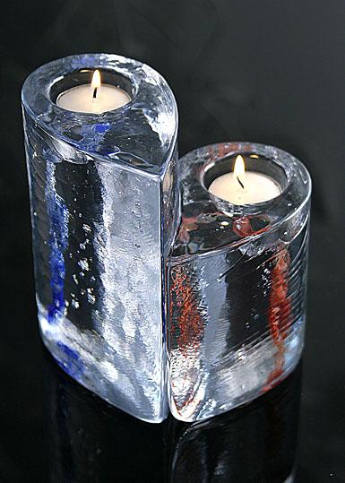 Kosta Boda 2 Sweet Hearts Candlesticks Pair