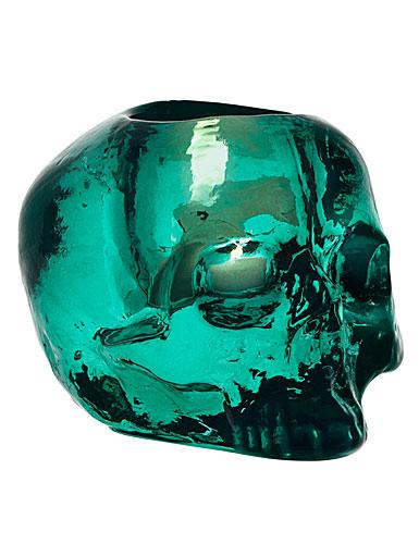Kosta Boda Still Life Skull Votive, Green