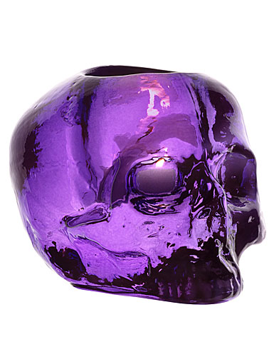 Kosta Boda Still Life Skull Crystal Votive, Purple
