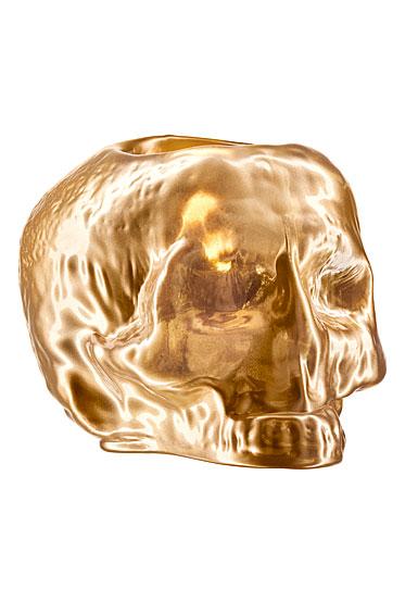 Kosta Boda Still Life Skull Crystal Votive, Gold
