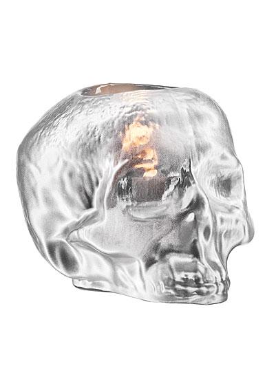 Kosta Boda Still Life Skull Crystal Votive, Silver