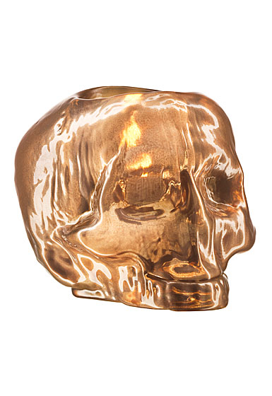 Kosta Boda Still Life Skull Crystal Votive, Copper
