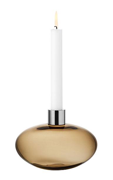 Kosta Boda Pluto Pluto Golden Brown Candlestick, Single