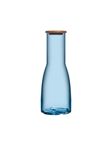 Kosta Boda Bruk Crystal Carafe with Oak Lid, Water Blue