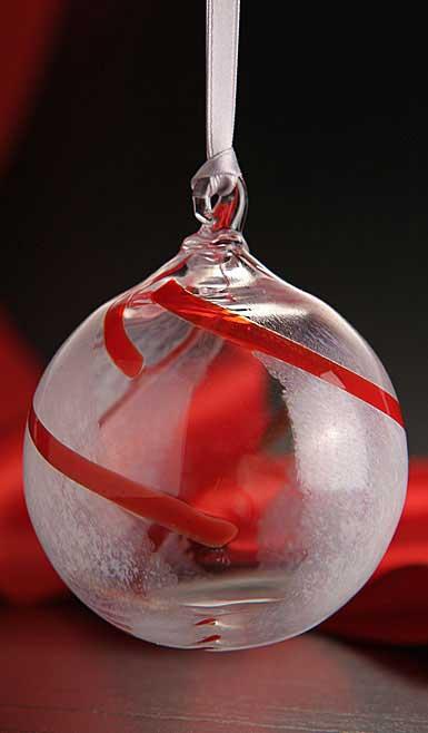 Kosta Boda Contrast Ornament, White and Red