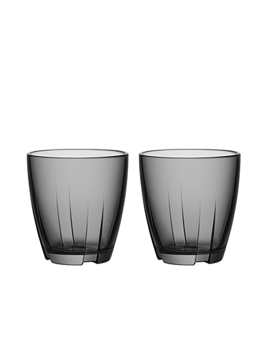 Kosta Boda Bruk Small Smoke Grey Tumbler, Pair