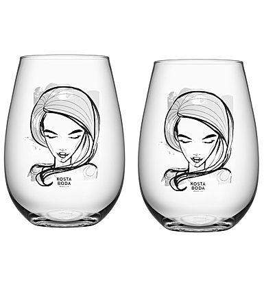Kosta Boda Crystal All About You Need You Stemless Wine Tumbler, Pair