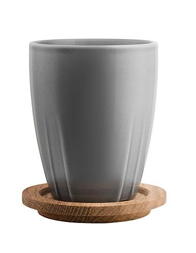 Kosta Boda Bruk Mug with Oak Lid, Set of 2, Smoke Grey