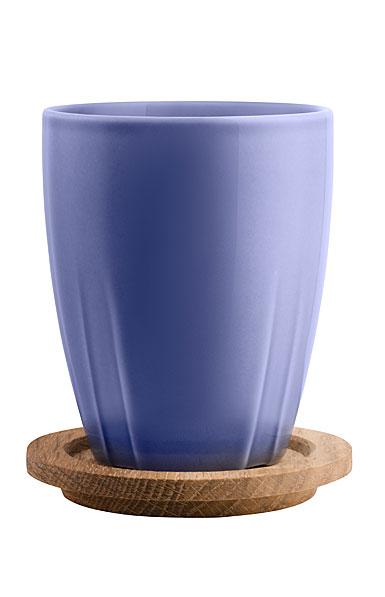 Kosta Boda Bruk Mug with Oak Lid, Set of 2, Denim Blue