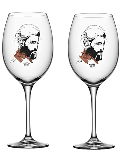 Kosta Boda Crystal All About You Wait for Him Wine , Pair