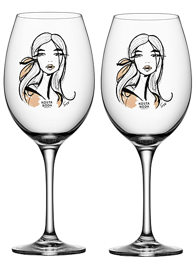Kosta Boda Crystal All About You Wait For Her Wine, Pair