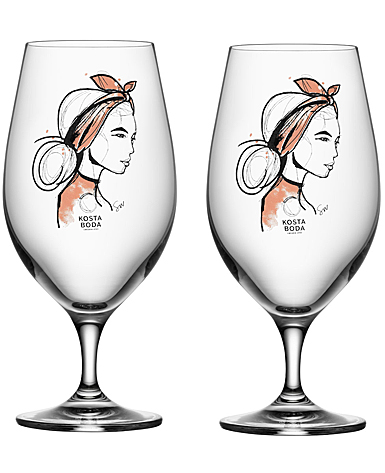 Kosta Boda Crystal All About You Near You Beer Glasses, Pair