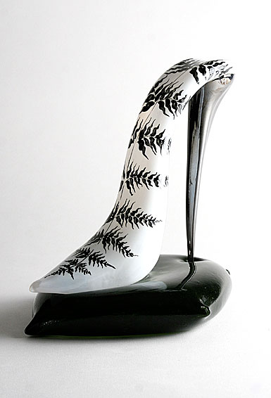 Kosta Boda Art Glass Kjell Engman, White Shoe and Black Cushion, Limited Edition