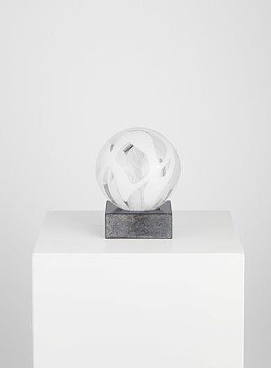 Kosta Boda Art Glass Anna Ehrner White Sphere, Limited Edition of 30
