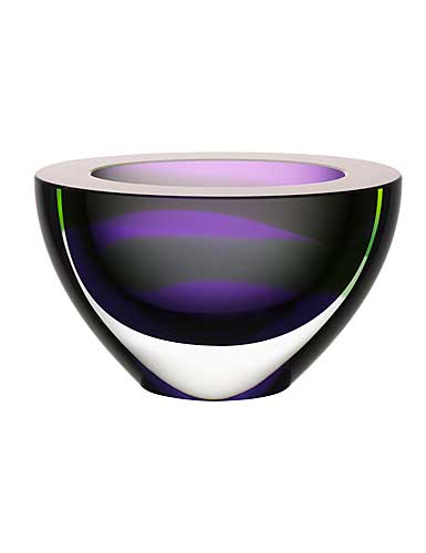 Kosta Boda Art Glass, Ludvig Lofgren Oval Bowl Purple Limited Edition