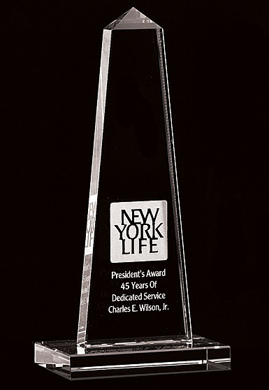 Crystal Blanc, Personalize! Obelisk Award, Small