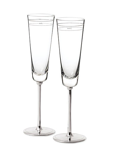 kate spade new york by Lenox Darling Point Crystal Toasting Flutes, Pair