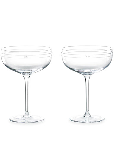 kate spade new york by Lenox Darling Point Crystal Champagne Glasses, Pair