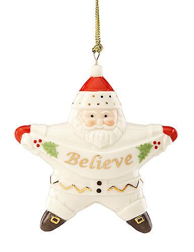 Lenox Believe Star Santa Ornament