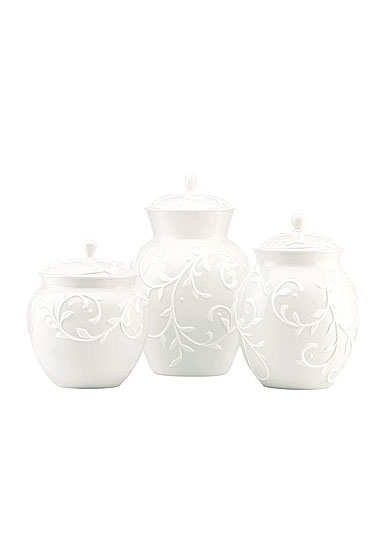 Lenox Opal Innocence Carved Dinnerware Canisters Set Of Three