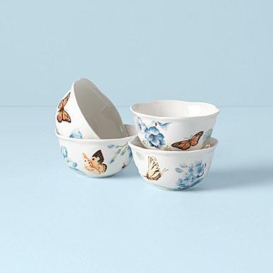 Lenox Butterfly Meadow Blue Dinnerware Dessert Bowl Set Of Four