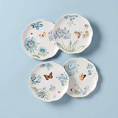 Lenox Butterfly Meadow Blue Dinnerware Dessert Place Setting Of Four