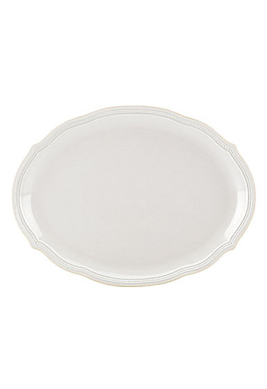Lenox French Perle Bead White Dinnerware Oval Platter 16""