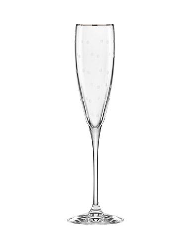 Kate Spade New York, Lenox Larabee Dot Platinum Crystal Flute, Single