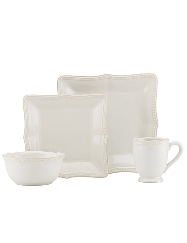 Lenox French Perle Bead White Square, 4 Piece Place Setting
