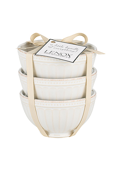 Lenox French Perle Groove Dinnerware Mini Bowl Set Of Three White