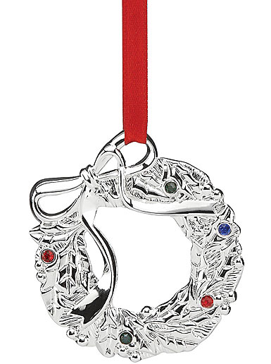 Lenox Jeweled Silver Wreath Ornament